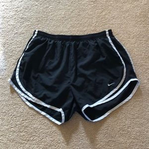 Black and white nike running athletic shorts